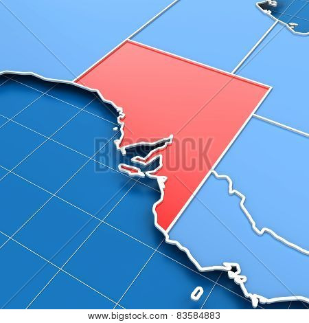 3d render of South Australia map
