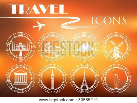 Set Of Vector Icons For Travel And Attractions