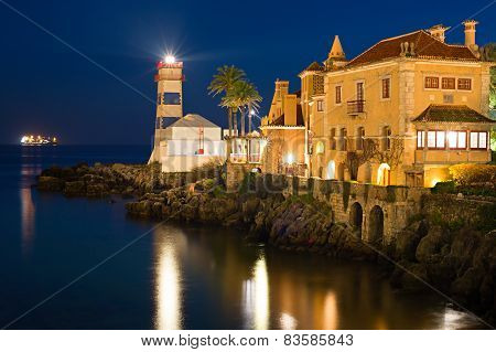 Cascais Lighthouse At Night, Portugal