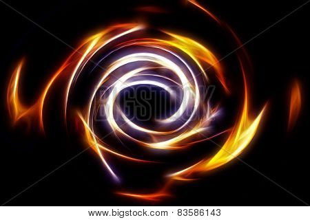 Beautiful Abstract Fire Circle On A Black Background.