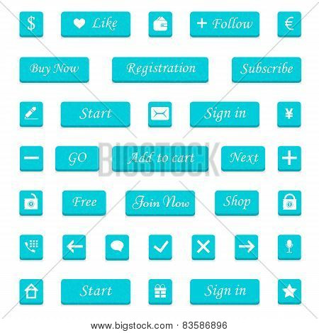 Vector set of cyan buttons and web elements for design websites
