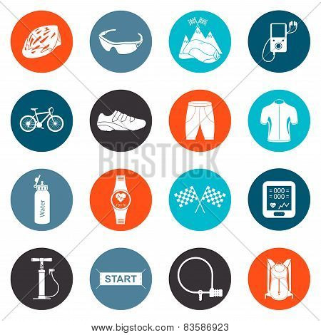 Vector Set of Icons about Cycling