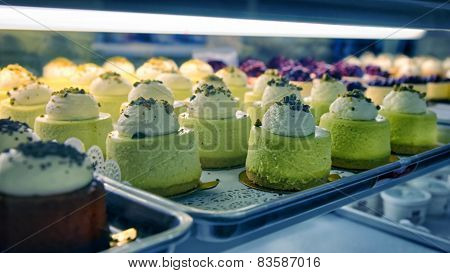 Assorted Chesecakes On The Bakery Storefront