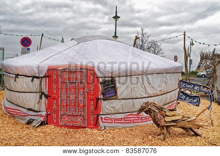 Nomads Tent And A Snag In Evian-les-bains In France In Winter