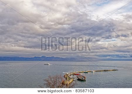 Lake View Over Lac Leman In  Evian-les-bains In France In The New Year In Winter