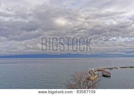 Lake View Over Lac Leman In  Evian-les-bains In France In Winter