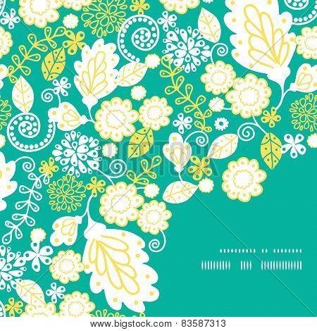 Vector emerald flowerals frame corner pattern background