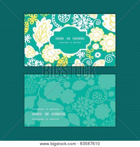 Vector emerald flowerals horizontal frame pattern business cards set