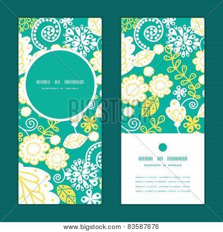 Vector emerald flowerals vertical round frame pattern invitation greeting cards set