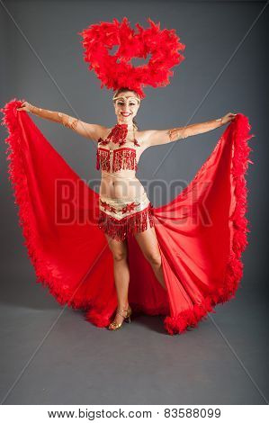 Young Dancer In Red  Costume