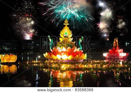 Big And Small Boats With Candles And Flowers Are Given For Thailands Traditional Loy Krathong Festiv