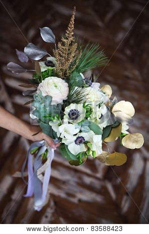 Wedding Bouquet With Ranunculus, Freesia, Roses And White Anemone