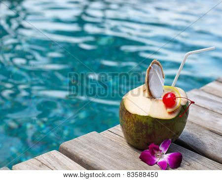 Coconut Cocktail With Drinking Straw