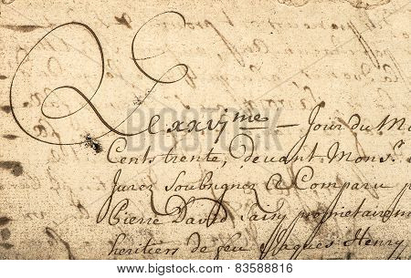 Vintage Handwriting With Latin Text. Grunge Paper Background