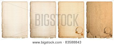 Aged Paper Sheet Isolated On White Background. Used Book Page