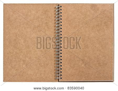 Open Notebook With Ring Binder. Recycled Craft Paper