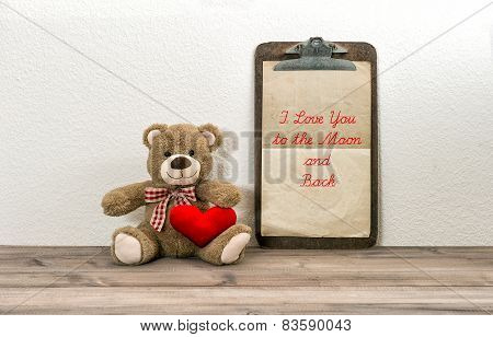 Teddy Bear With Red Heart And Clipboard. Valentines Day Concept