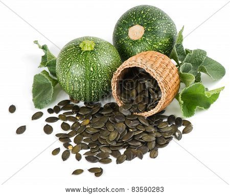 Pumpkin Seeds In A Basket  And Plant