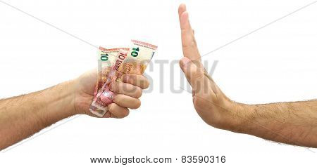 Man hand refusing money offered. Rejecting an offer of euros