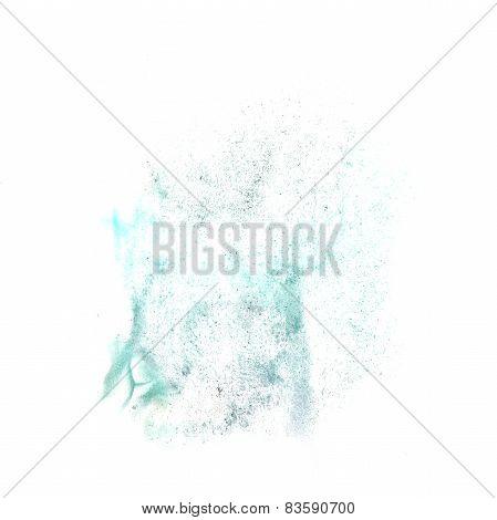 ink blot turquoise splatter background isolated on white