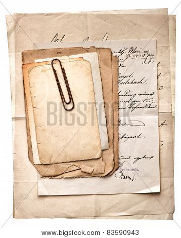 Pile Of Old Vintage Papers, Postcards And Letters With Paper Clip