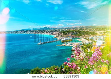 Nice City, French Riviera, Mediterranean Sea. Light Leaks