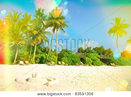 Sand Beach With Palm Trees. Sunny Blue Sky With Light Leaks And Flares
