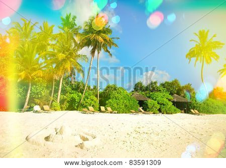 Sand Beach With Palm Trees. Sunny Blue Sky With Light Leaks And Lens Flares