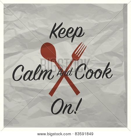 Vintage keep calm and cook on poster