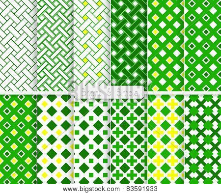 Bright And Simple Green And Yellow Squares Pattern Set