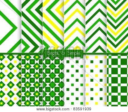 Bright And Simple Green And Yellow Stripes And Squares Pattern Set