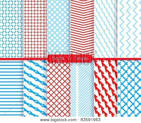 Bright And Simple Red And Shades Of Blue Pattern Set