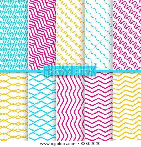 Bright And Simple Yellow Pink And Blue Pattern Set
