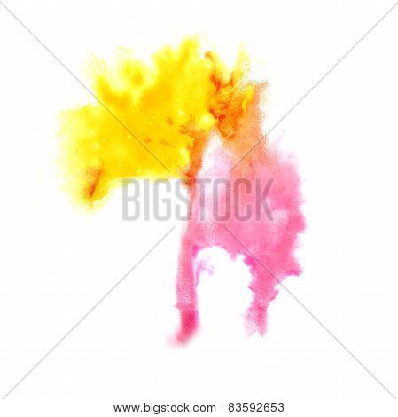 macro spot pink, yellow blotch  texture isolated on white textur