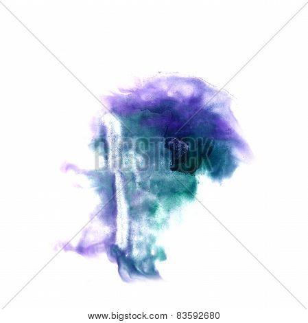 macro spot purple, green  blotch texture isolated on white textu