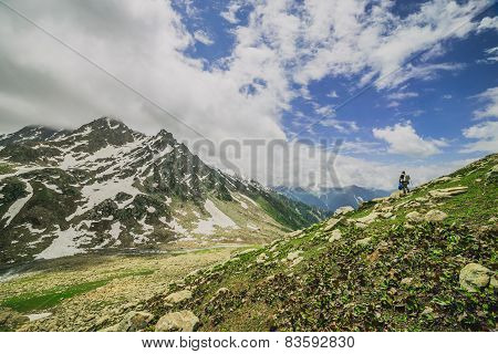 snow mountain with green field