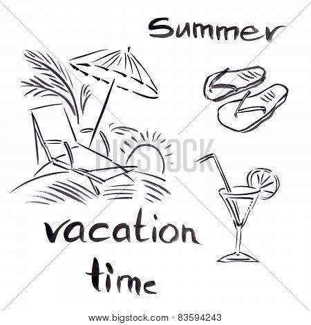 Black and white illustration of traveling themes, Summer vocation background