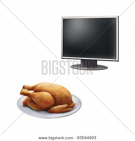Realistic illustration of high definition TV screen, Roast Chicken on a plate  isolated on white bac