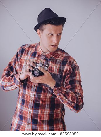 Hipster Man With Old Photo Camera