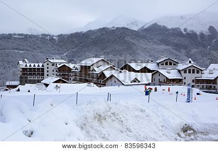 Priyut Pandy and Hotel Riders Lodge in Roza Khutor plateau