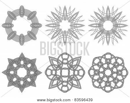 Set Of Six Black Circular Stencils