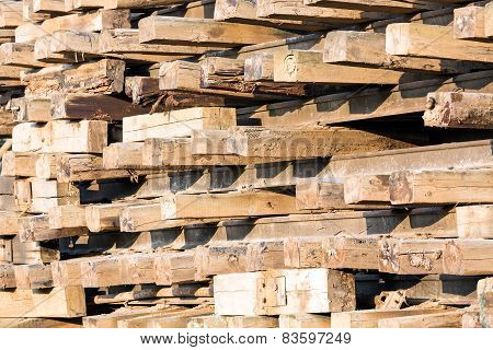 Old Wooden Sleepers In Stacks