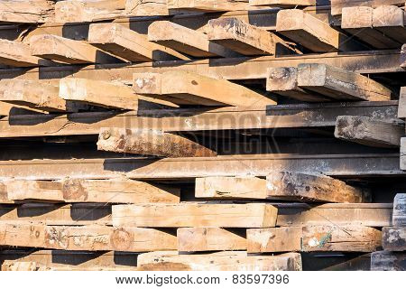 Stack Of Wooden Railway Sleepers