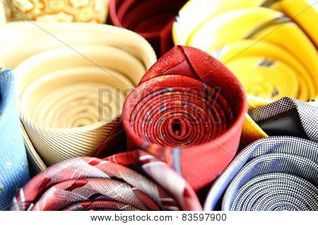 Rolled Colorful Ties Close-up