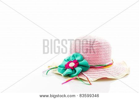 Pink Woven Hat.