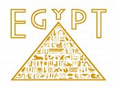 stock photo of hieroglyph  - An abstract pyramid with a mosaic of hieroglyphs within it - JPG