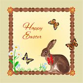 picture of hare  - Hare with butterflies and daisy  easter frame place for text vector illustration - JPG