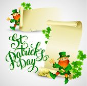 pic of saint patrick  - Saint Patricks day vector illustration with Leprechaun EPS 10 - JPG