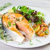 image of salmon steak  - salmon steak with salad on white plate - JPG