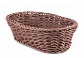image of braids  - Braiding small wicker basket on white background - JPG